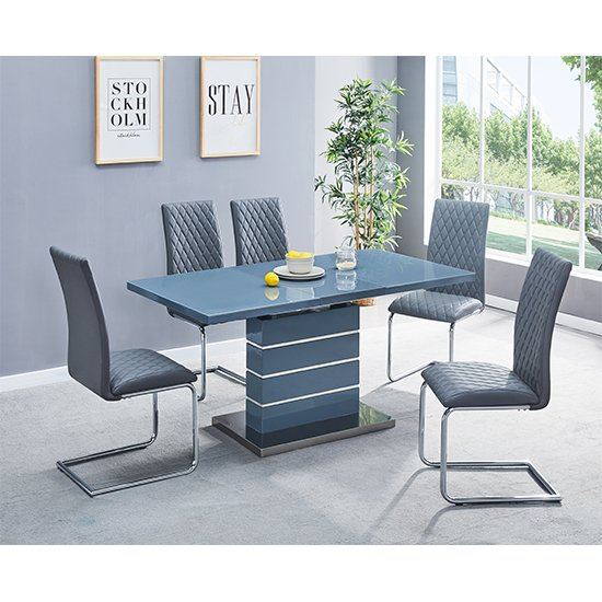 Parini Extendable White Gloss Dining Set And 6 Grey Ronn Chairs