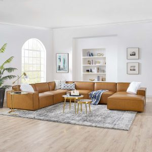 Restore 7-Piece Vegan Leather Sectional Sofa in Tan
