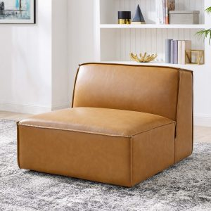 Restore Vegan Leather Sectional Sofa Armless Chair in Tan