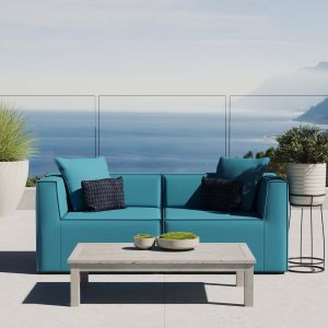 Saybrook Outdoor Patio Upholstered 2-Piece Sectional Sofa Loveseat in Turquoise