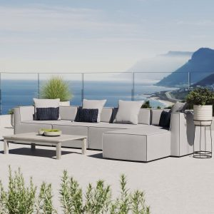Saybrook Outdoor Patio Upholstered 5-Piece Sectional Sofa in Gray