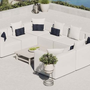 Saybrook Outdoor Patio Upholstered 8-Piece Sectional Sofa in White