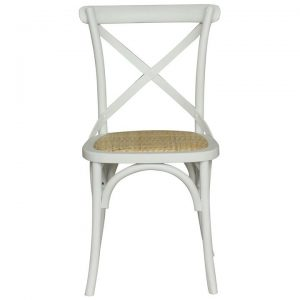 Sherwood Oak Timber Cross Back Dining Chair, Rattan Seat, Vivid White