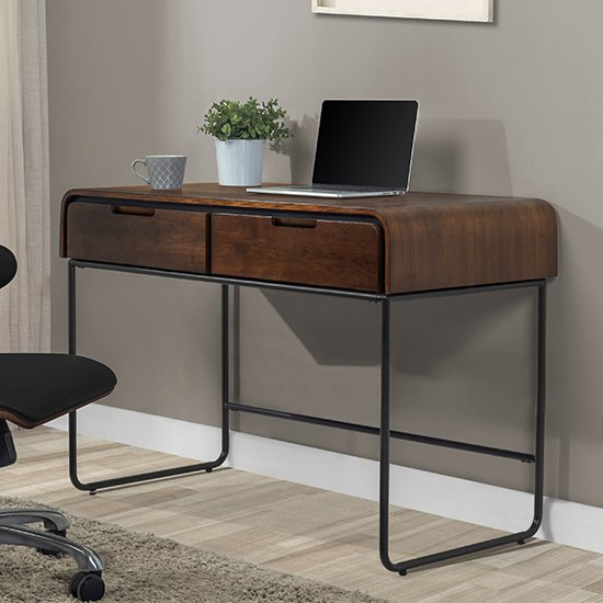 Sicenza Wooden Computer Desk In Walnut And Black With 2 Drawers
