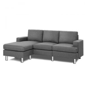Sofa Lounge Set Couch Futon Corner Chaise Fabric 4 Seater Suite Grey