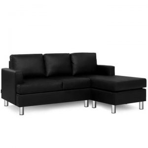 Sofa Lounge Set Couch Futon Corner Chaise Leather 4 Seater Suite Black