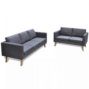 Sofa Set 2-Seater and 3-Seater Fabric Dark Grey | Afterpay | zip |