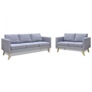 Sofa Set 2-Seater and 3-Seater Fabric Light Grey | Afterpay | zip |
