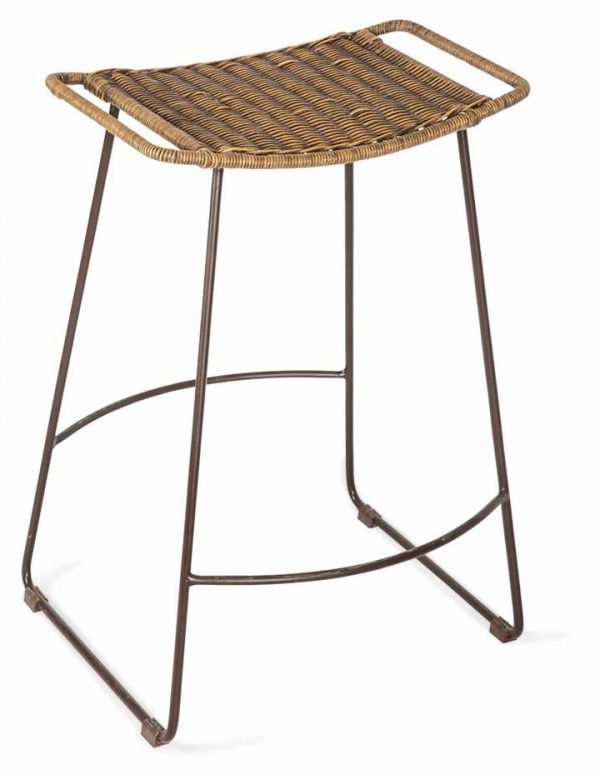 Surya Counter Rattan Stool with Metal Legs