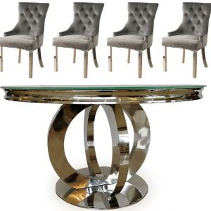 Vida Living Orion 130cm Round Dining Table with 4 Grey Velvet Knockerback Chairs - Glass and Chrome
