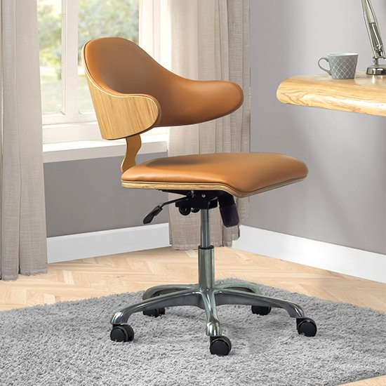 Vikena Swivel Faux Leather Office Chair Oak And Tan