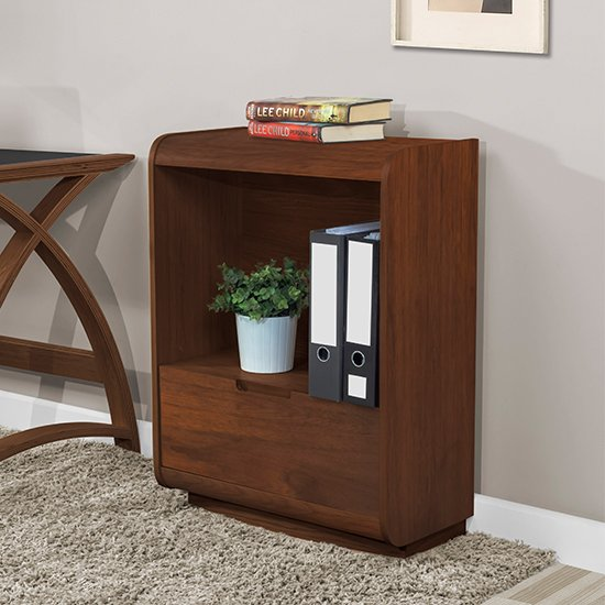 Vikena Wooden Short Bookcase In Walnut With Drawer