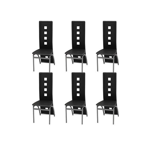 6 Pcs Dining Chairs Artificial Leather Black