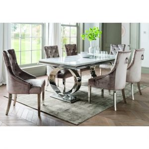 Adele Marble Dining Table With 8 Enmore Champagne Chairs