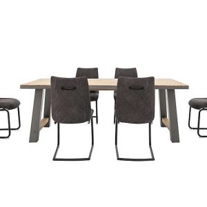 Baltimore Dining Table and 6 Dining Chairs Set - 210-cm
