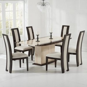 Bentley Marble Dining Table Cream And Brown With 6 Allie Chairs