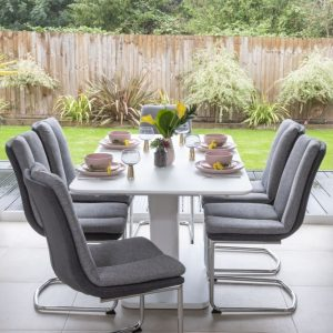 Bergen Matt White 160cm-200cm Drop Leaf Dining Set with Rodeo Grey Fabric Swing Chairs
