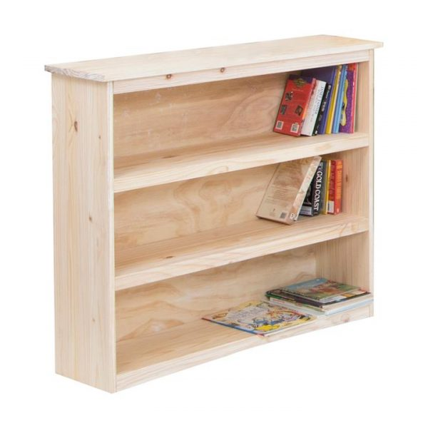 Byron Pine Timber Low Bookcase, Seashell