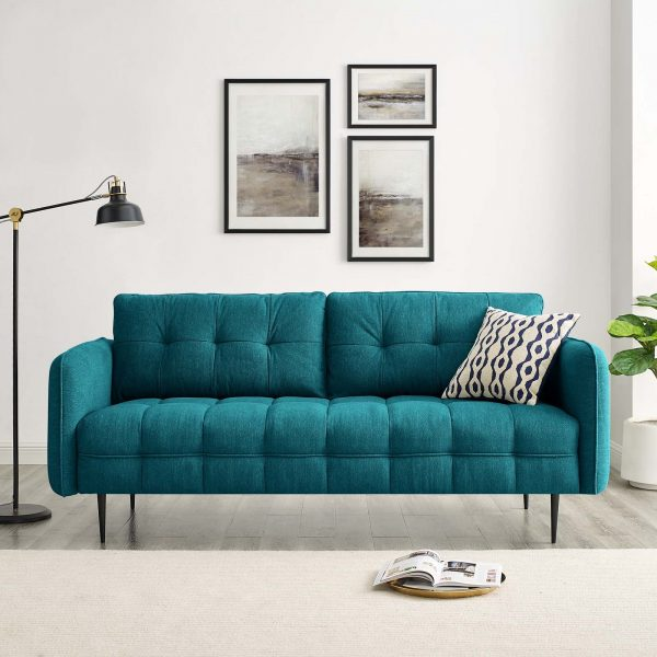 Cameron Tufted Fabric Sofa in Teal