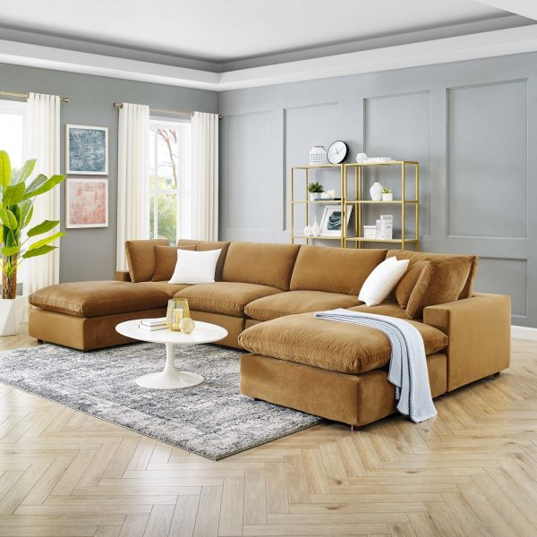 Commix Down Filled Overstuffed Performance Velvet 6-Piece Sectional Sofa in Cognac