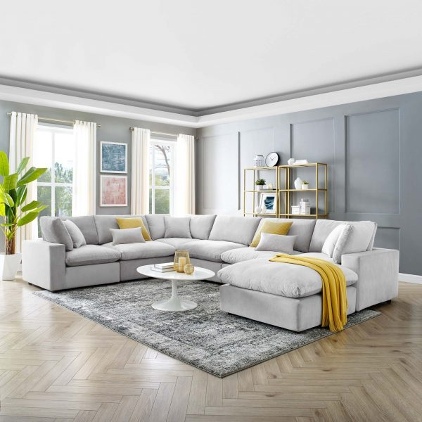 Commix Down Filled Overstuffed Performance Velvet 7-Piece Sectional Sofa in Light Gray