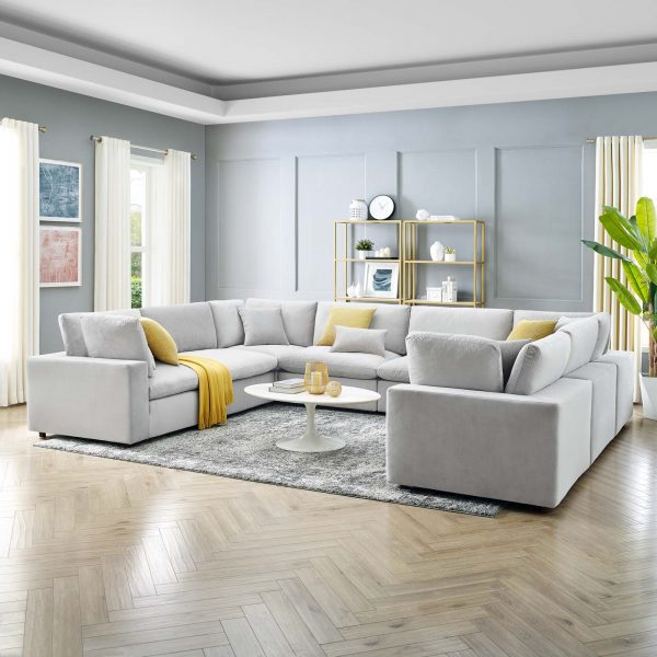 Commix Down Filled Overstuffed Performance Velvet 8-Piece Sectional Sofa in Light Gray