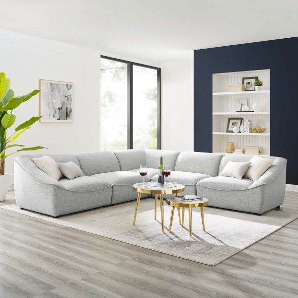 Comprise 5-Piece Sectional Sofa in Light Gray