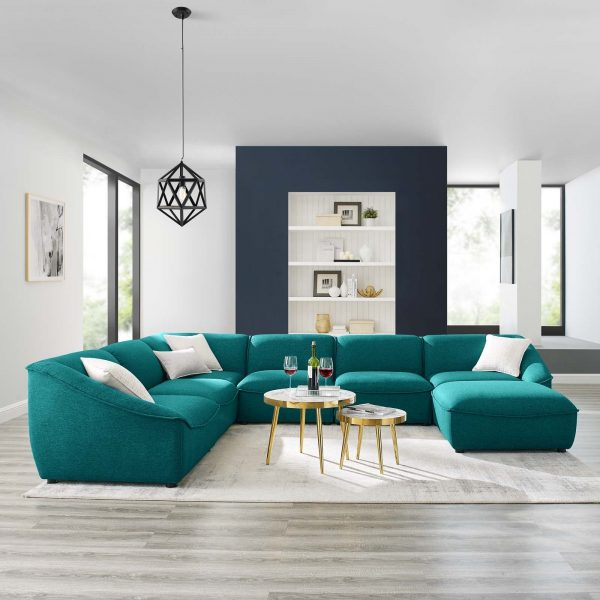 Comprise 7-Piece Sectional Sofa in Teal