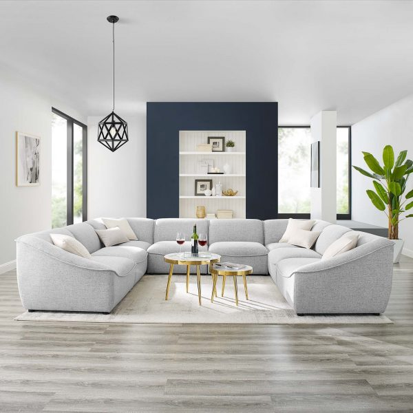 Comprise 8-Piece Sectional Sofa in Light Gray