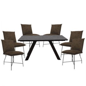 Flavia Extending Glass Dining Table With 6 Lukas Brown Chairs