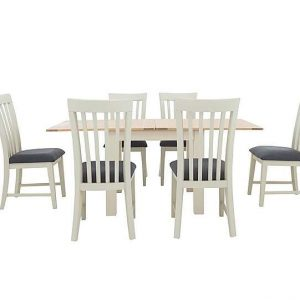 Furnitureland - Angeles Flip Top Extending Dining Table and 6 Wooden Dining Chairs