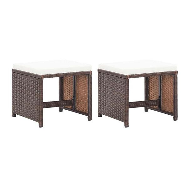 Garden Stools 2 Pcs With Cushions Poly Rattan