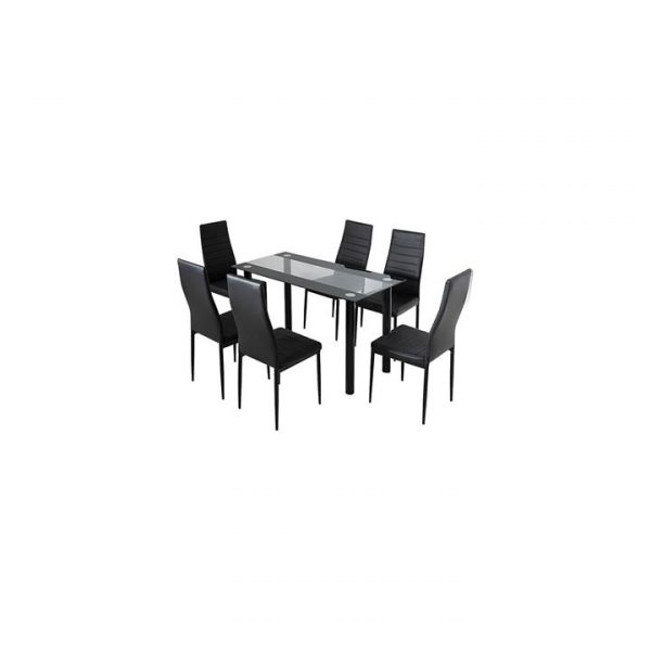 Glass Leather 7-Piece Dining Set Mix Black