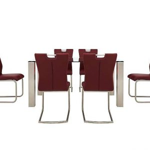 Ideas 160cm Dining Table and 6 Handle-back Dining Chairs with Round-edged Cantilever Bases