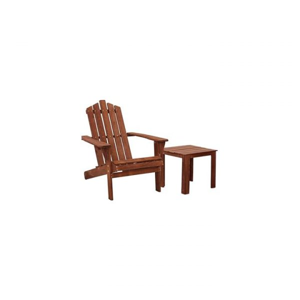 Kenway 2-Piece Wooden Adirondack Patio Chair With Table, Brown