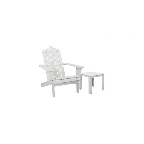 Kenway 2-Piece Wooden Adirondack Patio Chair With Table, White