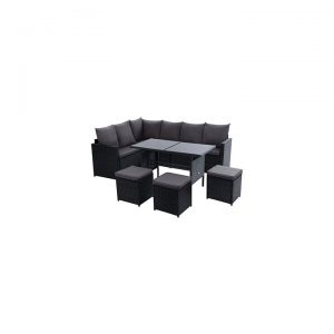 Kenway 9-Seater Outdoor Sofa Dining Set, Black