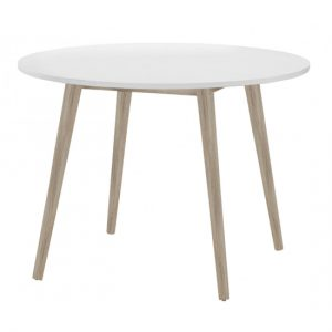 Mapleton Wooden Round Dining Table In White And Oak