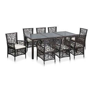 Outdoor Dining Set 9 Pieces Poly Rattan