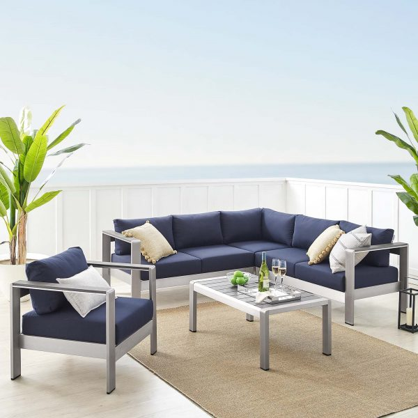 Shore Sunbrella® Fabric Outdoor Patio Aluminum 5 Piece Sectional Sofa Set in Silver Navy