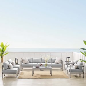 Shore Sunbrella® Fabric Outdoor Patio Aluminum 9 Piece Sectional Sofa Set in Silver Gray