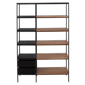 Stratford Bookcase & Room Partition Size W 105cm x D 35cm x H 162cm in Natural/Black Freedom