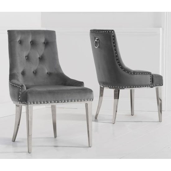 Toni Grey Velvet Dining Chairs In A Pair