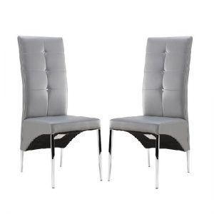 Vesta Dining Chair In Grey Faux Leather In A Pair