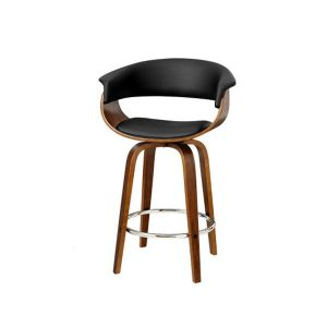 2 Pcs Bar Stools Swivel Wooden Kitchen Dining Chairs Pu Leather Black