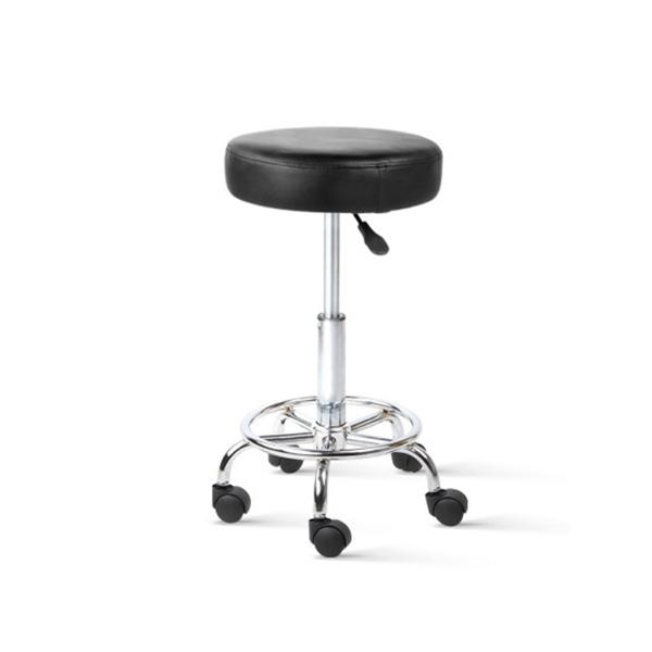 2 Pcs Round Salon Stool Swivel Barber Chair Black