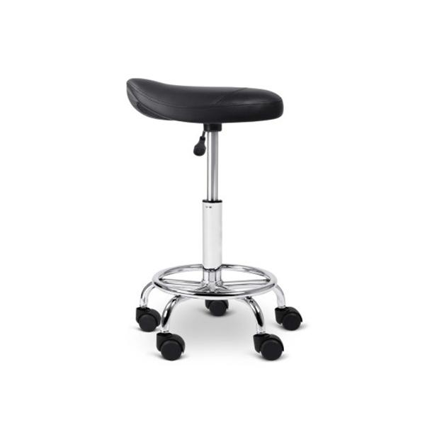 2 Pcs Saddle Salon Stool Swivel Barber Chair Hydraulic Lift Black