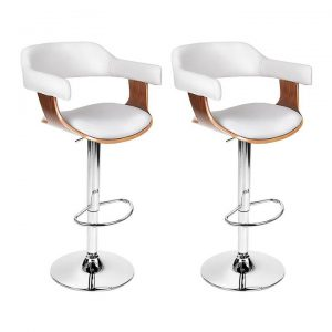 2x Wooden Bar Stools SELINA Kitchen Swivel Bar Stool Chairs Leather White