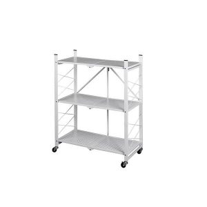 3 Tier Foldable Storage Display Rack Bookcase Wheel Collapsible Cart