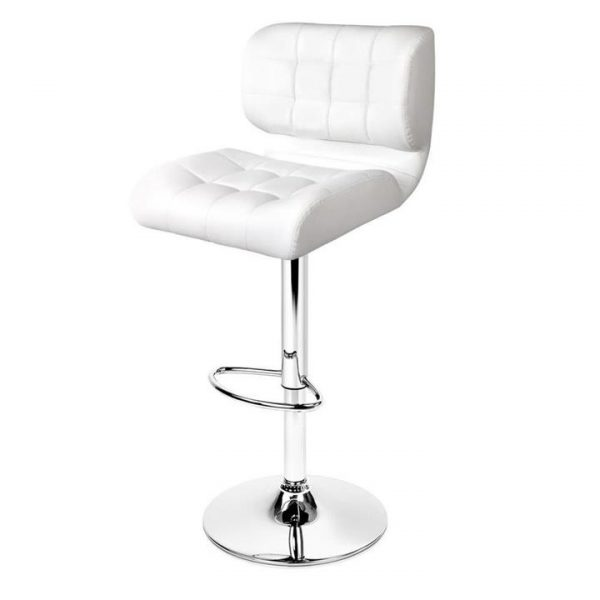 4x Bar Stools PU Leather Chrome Kitchen Bar Stool Chairs Gas Lift White